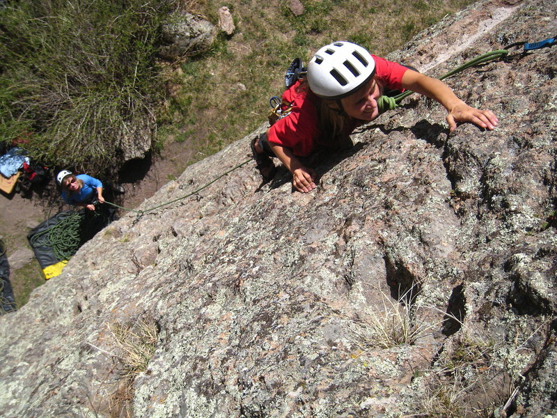 Rock Climbing Photo: Ruth on lead of Green Thumb despite the lack of cl...