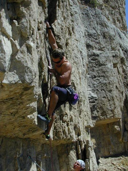 Rock Climbing Photo: Aaron Mulkey bears down on Rode A Stolen Horse 5.1...