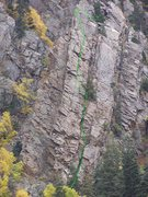 Rock Climbing Photo: Rappel stations at the trees.  Gear belay at the t...