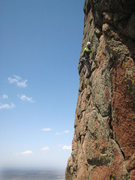 Rock Climbing Photo: Heading up the steep face of pitch 5 after doing t...