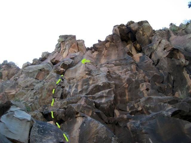 Rock Climbing Photo: blocky start leads to a prominent right facing cra...