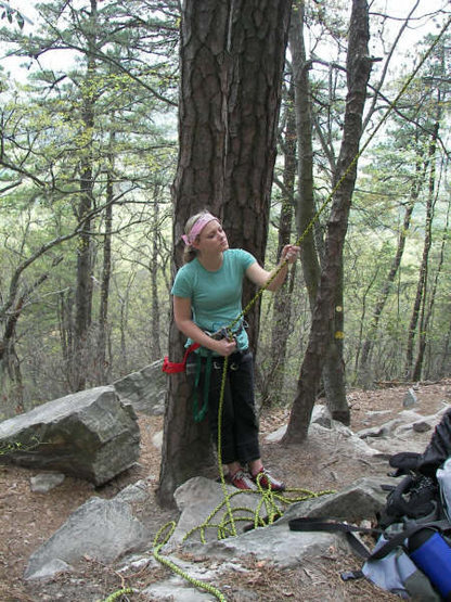 Belaying for Mark on Grandpa's Belay at Pilot Mountain.