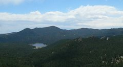 Rock Climbing Photo: Evergreen Lake and the Three Sisters from the summ...