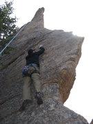Rock Climbing Photo: Chris working the crux move.