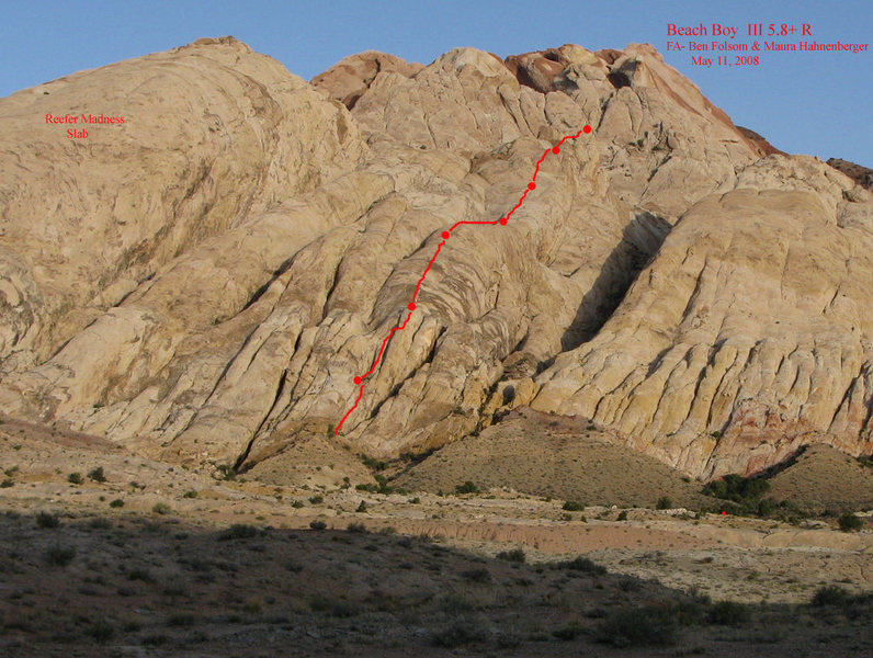 This is the line of Beach Boy, which is located in between the Reefer Madness slab and the canyon where Easy Street is located.  Each of the bigger dots is a belay.