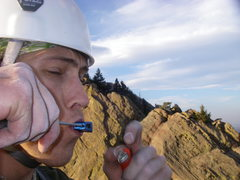 Rock Climbing Photo: Yellow Spur summit, unknown...climber showing the ...