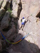 Rock Climbing Photo: Dave stepping up to the first bolt above the belay...