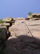 Rock Climbing Photo: Dave above the mantles, just below the bolted, bla...