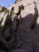 Rock Climbing Photo: Dave rapping the lower part.  About foot level is ...