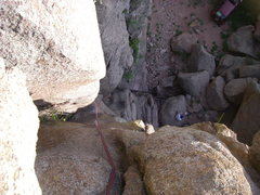 Rock Climbing Photo: Looking down the chimney fun from the 3 bolt ancho...