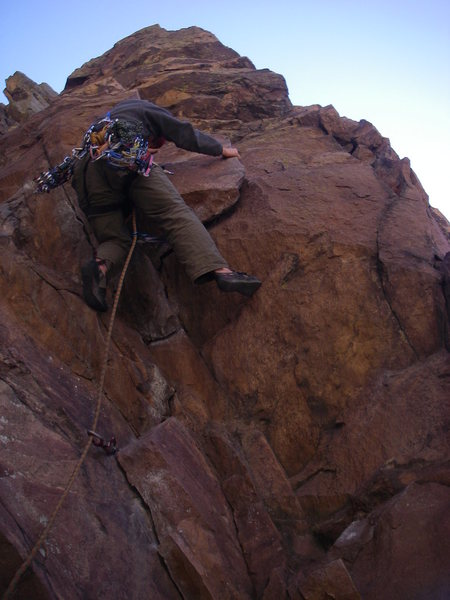 Rock Climbing Photo: Brandon flaking up the start.