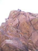 Rock Climbing Photo: Brandon turning onto the face on P1.