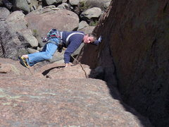 Rock Climbing Photo: Avoiding the crack on the 2nd pitch of Turkey Shoo...
