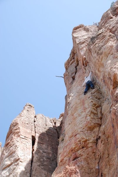 Rock Climbing Photo: I felt like the crux is just below me in the dihed...