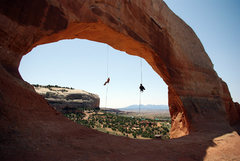 Rock Climbing Photo: Fun simul-rap off of Wilson Arch. We used two 60m ...