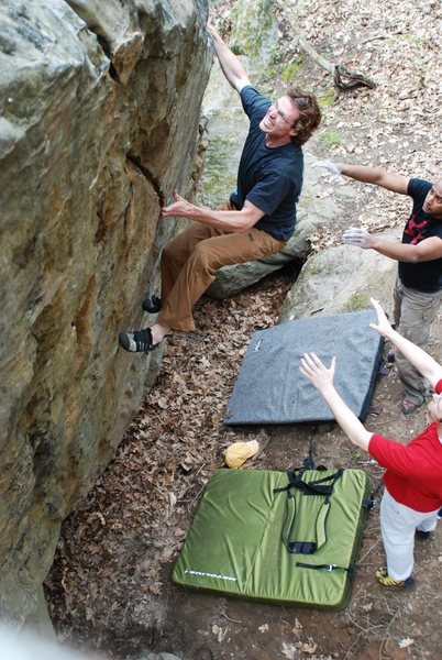 Rock Climbing Photo: Jay with his Game Face about to move into the crux...