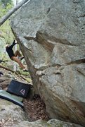 Rock Climbing Photo: Jay making the last move of the crux into the flak...