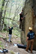Rock Climbing Photo: Shantan making 'the move' on the left-hand variati...