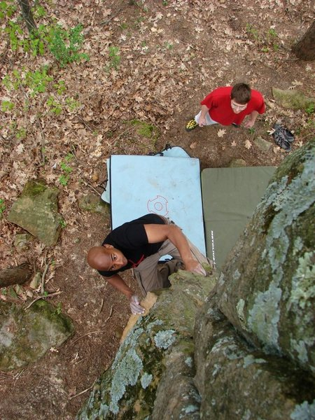 Shantan working up the arete on this fun problem.