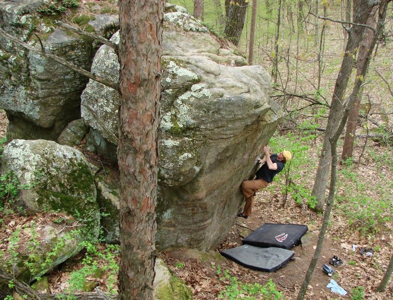 Rock Climbing Photo: Jay working out the crux moves near the top on a p...