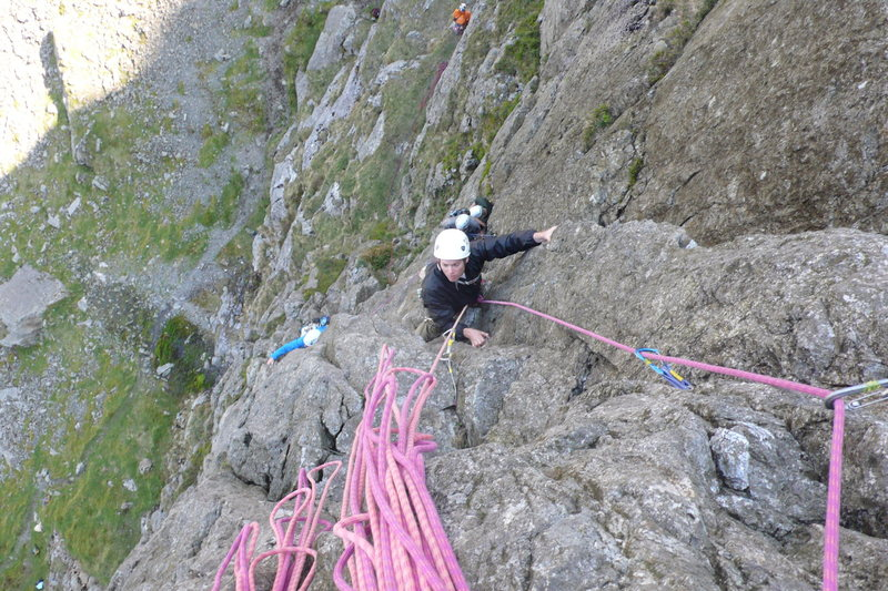 John Fodor following the 1st pitch at the crux near the top 1st pitch.