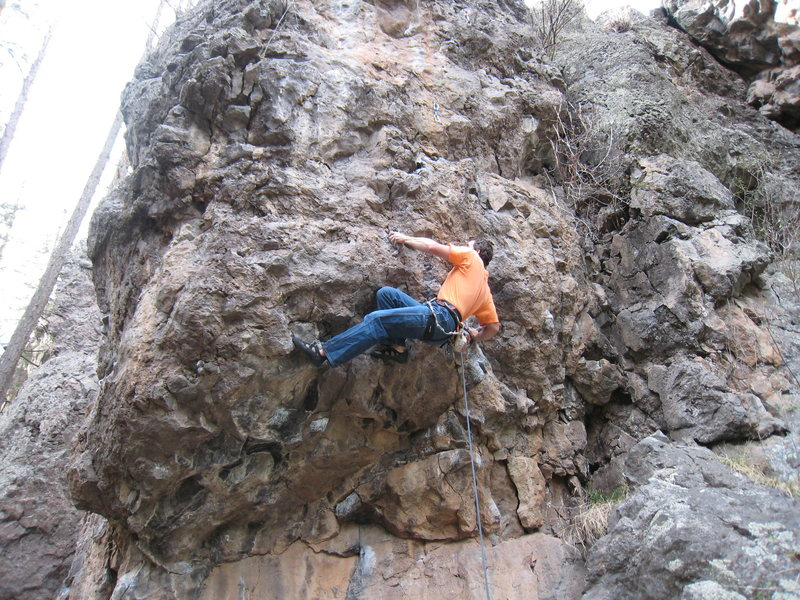 Rock Climbing Photo: Pulling through the crux on Weenies Go Like This. ...