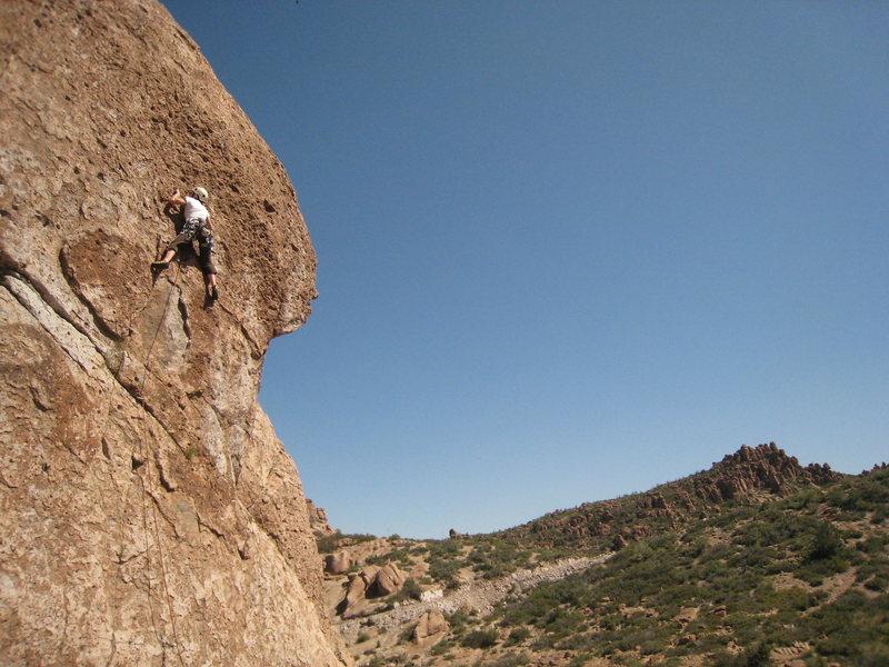 Rock Climbing Photo: Aminda moving through the crux on a hot, greasy po...
