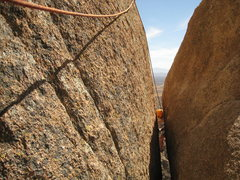 Rock Climbing Photo: Over the Wedge crack and through the Veg crap, to ...