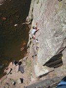 Rock Climbing Photo: Gabe pulling onto the slab.