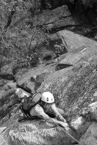 Rock Climbing Photo: Alex on the clissic Black Lung 5.8...