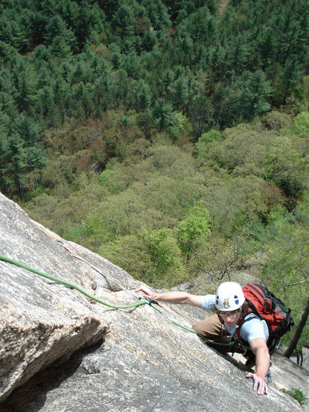Rock Climbing Photo: Alex on the exposed upper pitch of Upper Refuse...