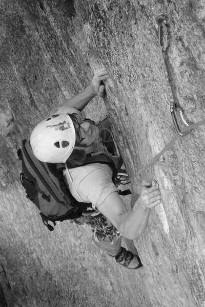 Rock Climbing Photo: Alex pulling the crux of the second pitch Miss Sai...