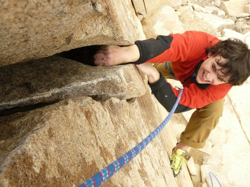 Climbing O'Kelley's Crack<br> Photo by Darshan Ahluwalia