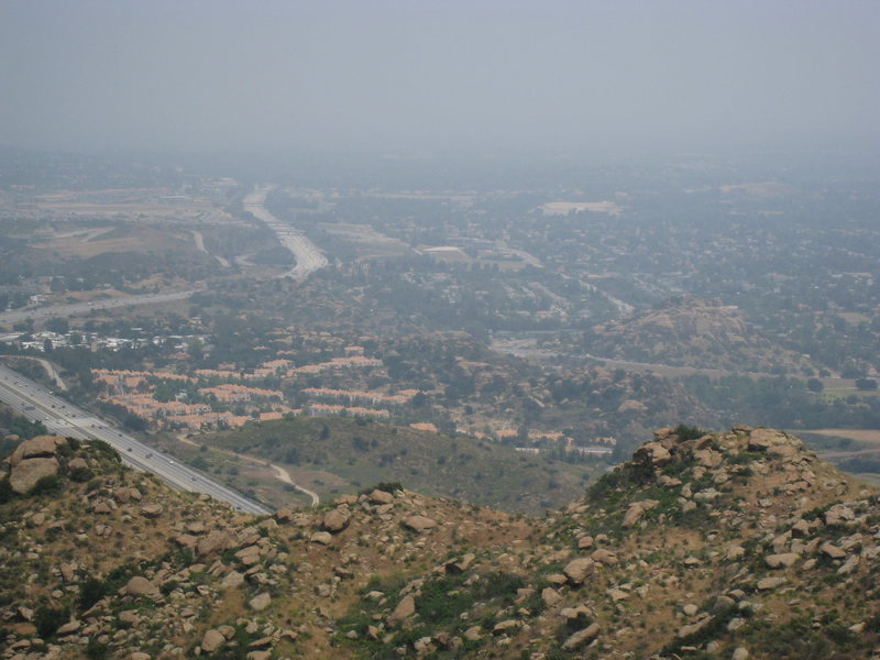 View of Stoney Point from Rocky Peak.  Ahh the LA smog.  Downtown should be visible in the distance, but isn't.