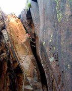 Rock Climbing Photo: Looking up at the big roof on pitch 2.  You can ch...
