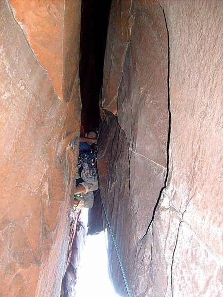 Rock Climbing Photo: Soon the chimney squeezes down...