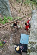 Rock Climbing Photo: Nathan from above on the left-hand variation of th...