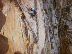 Rock Climbing Photo: Drew finishing up the long traverse on pitch 6.