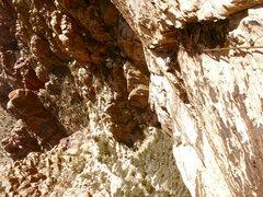 Rock Climbing Photo: Gomoll climbs the long 3rd pitch dihedral