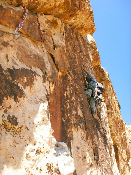 Drew climbs the crazy face on pitch 4.