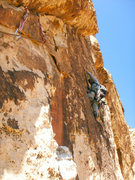 Rock Climbing Photo: Drew climbs the crazy face on pitch 4.