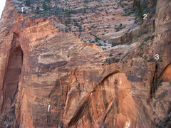 Rock Climbing Photo: Spaceshot/Leaning Wall descent beta, view from Des...