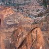 Spaceshot/Leaning Wall descent beta, view from Desert Shield. 1 - top of Spacehot, 2 - first rappel is from the large pine tree, rap the slab and then hike to second rappel, 3 - location of second rappel.