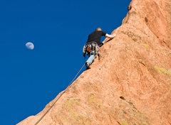 Rock Climbing Photo: Me leading Montezuma's Tower. Photo by Patrick Der...