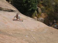 Rock Climbing Photo: Shaun Weller negotiates the slabby runout section ...