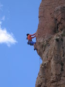 Rock Climbing Photo: Climber on Funkdamental (5.11b)