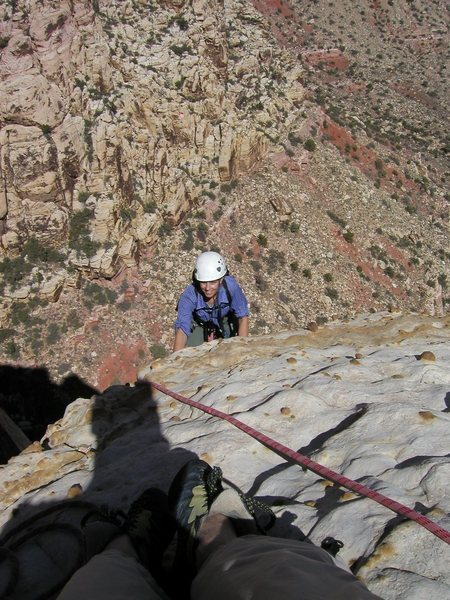 Rock Climbing Photo: Topping out on Tunnel Vision (5.7), Red Rock Canyo...