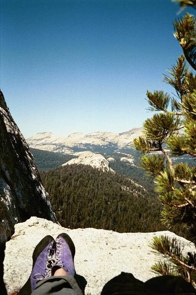 Chillin' out on at the top of pitch 7 (?-don't exactly remember), Regular Route on Fairview Dome