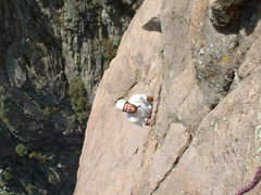 Dave Head following the 6th pitch of the SE Face of Minerva's Temple in 2002.