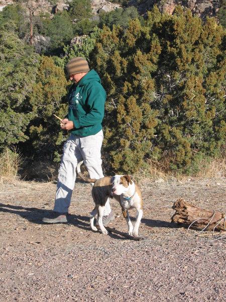 Rock Climbing Photo: Shane and Binx the Wonder Dog